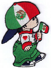 Mexican Flag Boy Patch /Iron On Embroidered Patch Mexico
