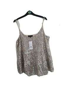 Dorothy Perkins Silver Sequin Strappy Top UK Size 14 Sleeveless Party Vest