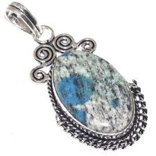 "Handmade Blue Azurite Jasper 925 Sterling Silver 2.5"" Pendant #P17493"