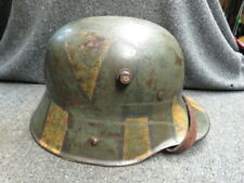 WWI GERMAN MODEL 1916 HELMET W/ ORIGINAL CAMOUFLAGE PAINT-ORIGINAL LINER-RARE