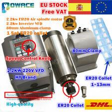 【ES】2.2KW ER20 220V Air Cooled CNC Spindle Motor+Collet+VFD Inverter+80mm Clamp