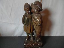 "Rare ancienne sculpture couple enfants ""Le secret"""
