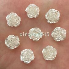 Fashion 40PCS 12mm pearl rose beads flower Flatback Wedding Buttons crafts DIY