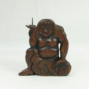 C052: Very rare, really old Japanese wooden candlestick of great man statue