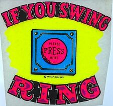 Vintage If You Swing Ring Please Press Here Dayglo Iron On Transfer