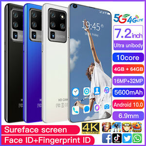 7.2 Inch Android Smartphone 4GB+64GB 10 Dual SIM 10-Core 5600mAh Mobile Phone US