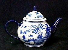 Blue Willow Porcelain China Stoneware Round Belly Teapot Oriental Pagodas Birds