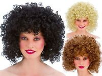 80s Adults Curly Permed Afro Wig Disco Groovy Fancy Dress Costume Accessory