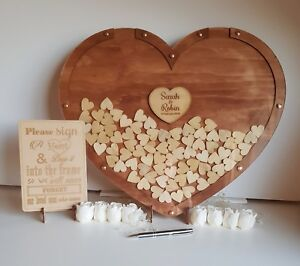 Large 150 hearts Love Drop box Wooden wedding birthday engagement guest book