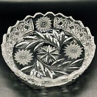 "Antique ABP American Brilliant Cut Glass Intaglio Hobstar Chain Dish 7""W 2.5""H"