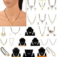 Indian Jewelry Mangalsutra Gold Plated Traditional Pendant Necklace Earrings