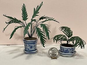 Vintage Artisan Pair Of Parlor Palms Asian Motif Pots Dollhouse Miniature 1:12