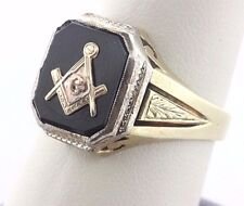 Antique 14K White & Yellow Gold Hand Engraved Masonic G Compass Mens Ring - 9.5