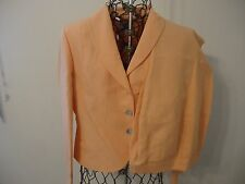 NWT Womens 12 Petite Sophisticate Peach 3/4 S Lined Linen Blazer Two 12 Slacks