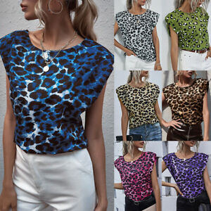 Womens Casual Shoulder Pad Leopard Tee Tops Ladies Summer Blouse T-shirt Blouse
