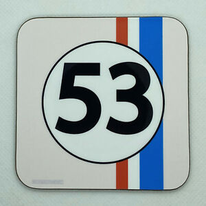 HERBIE 53 - Inspired by The Love Bug - Drinks Coaster / Bar Mat - Sturdy, Gloss