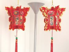 2 M RED GOLD LUCKY DRAGON HEXAGON PAPER PALACE LANTERN CHINESE JAPANESE PARTY