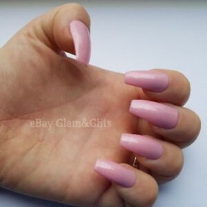 24 Hand Painted Gel False Nails Baby Pink Sparkle Coffin, Stiletto, Square, Oval