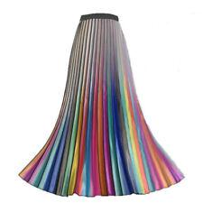 Women Rainbow Metal Pleated Skirt Midi Elastic Waist Swing Casual Long Fashion