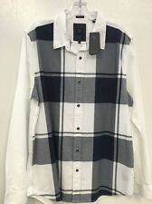 NWT Men's Guess Check Long Sleeve Shirt Size Large Slim Fit White/Navy Blue