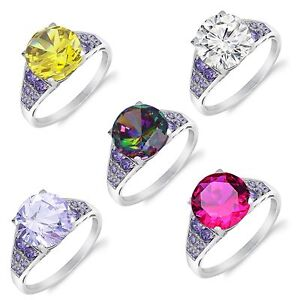 Brilliant Citrine, Clear, Mystic, Lavender or Ruby Sterling Silver Cocktail Ring