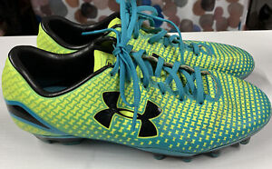 UNDER ARMOUR SPEED FORCE Blue/Yellow Molded Soccer Cleats...YOUTH size 6