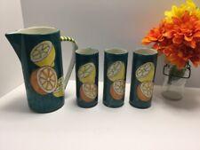 Vintage Glass Lemonade/Orange Juice Pitcher/ 3 Glasses Hand Made In Italy B20