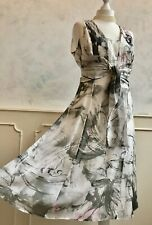 APANAGE 100% SILK German Designer White Multi Print Occasion Dress Medium 12
