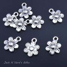 FLOWER DAISY CHARMS  -  Antique Silver Colour Plated 20 Pcs - Jewellery Making