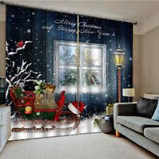 Christmas Pattern Living Room Window Drapes Balcony Curtains Decor 2 Panels