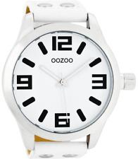 OOZOO Timepieces Damen-Uhr, Silber/Schwarz/Weiß, Lederband, Weiß, 51cm