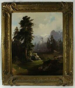 Heinrich Maximilian Brückner Berglandschaft Wald Köhlerhütte Öl signiert um 1880