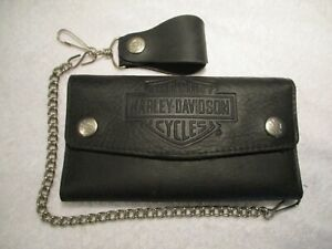 New Genuine Harley-Davidson Embossed Biker Tri-Fold Leather Chain Wallet