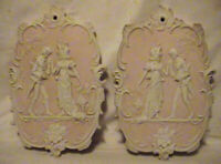 VINTAGE ARNART WALL PLAQUES    PINK AND WHITE VICTORIAN COUPLE WALL PLAQUES