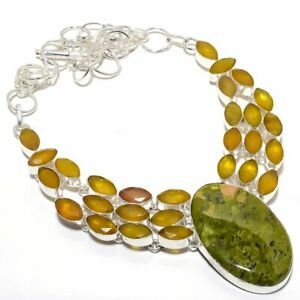 """Unakite, Yellow Onyx Gemstone 925 Sterling Silver Necklace 18"""""""