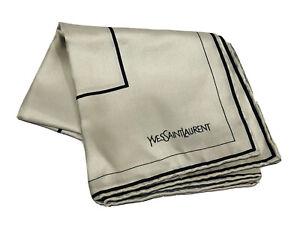 "Vintage Yves Saint Laurent YSL Gray 100% Silk Handkerchief Scarf 18"" X 18"""
