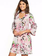 V by Very Choker Tie Sleeve Short Dress Pink Size UK 20 rrp £35 DH079 RR 09
