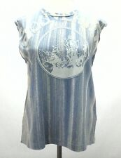 DIESEL Womens SHIRT Sleeveless SOUVENIR Blue Embellished TANK TOP Medium M $148