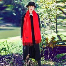 Grand Foulard/Hijab/Écharpe,Femme,Homme,100%Cachemire,Rouge,Tissu Fin,Élégant,FR