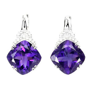 Unheated Cushion Amethyst 10mm Cz White Gold Plate 925 Sterling Silver Earrings
