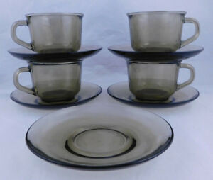 Vintage Arcoroc France - 4 Smoky Glass Cups & 5 Saucers