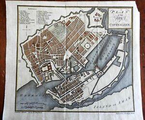 Copenhagen Denmark city plan 1790 Neele detailed key Fortifications Palace