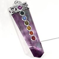 Rainbow FLUORITE 7 Chakra Pendant CHARGED Crystal Sterling Silver Necklace Reiki