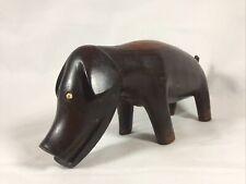 More details for vintage hand made naively carved wooden dog ? pig ? ornament figurine