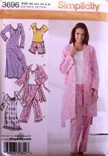 NIGHTGOWN* PAJAMAS* ROBE* PANTS* TOP Simplicity Pattern 3696 Size Misses XXS-M