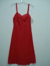 """NWT Women's USA Made Nancy King Lingerie 26"""" Full Dress Slip Size 34 Red #99N"""