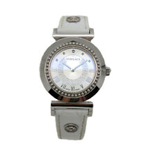 Versace Vanity P5Q99D001 Silver Tone White Leather Strap Womens Swiss Made Watch