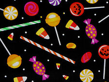 HALLOWEEN AUTUMN PUMPKIN CANDIES SUCKERS SWEET TREATS 100% COTTON FABRIC YARDAGE