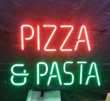"""Pizza & Pasta Open Neon Lamp Sign 17""""x14"""" Bar Light Glass Artwork Decor Handmade"""