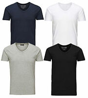 Jack & Jones New Mens Vee Neck Slim Fit T-shirt Stretchy Plain Lycra Cotton Tee